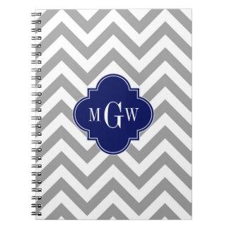 Dk Gray Lg Chevron Navy Quatrefoil 3 Monogram Notebook