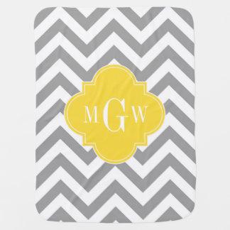 Dk Gray Lg Chevron Pineapple Quatrefoil 3 Monogram Baby Blanket