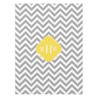 Dk Gray Lg Chevron Pineapple Quatrefoil 3 Monogram Tablecloth
