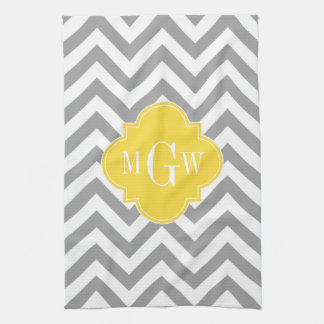 Dk Gray Lg Chevron Pineapple Quatrefoil 3 Monogram Tea Towel