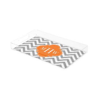 Dk Gray Lg Chevron Pumpkin Quatrefoil 3 Monogram Acrylic Tray