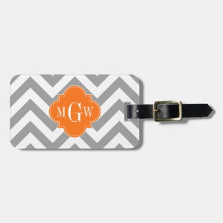 Dk Gray Lg Chevron Pumpkin Quatrefoil 3 Monogram Bag Tag