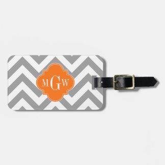 Dk Gray Lg Chevron Pumpkin Quatrefoil 3 Monogram Luggage Tag