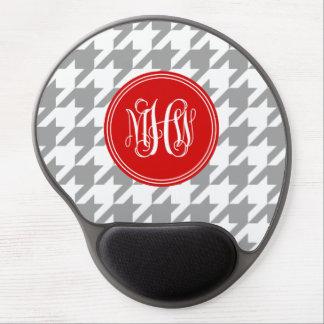 Dk Gray White Houndstooth Red 3I Vine Monogram Gel Mouse Mats