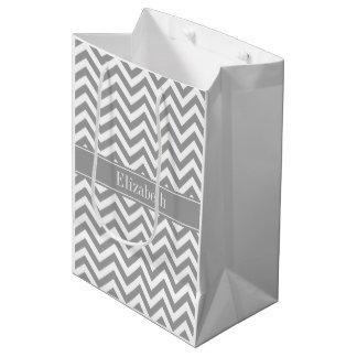 Dk Gray White LG Chevron Dk Gray Name Monogram Medium Gift Bag