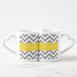 Dk Gray White LG Chevron Pineapple Name Monogram Coffee Mug Set