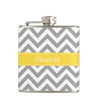 Dk Gray White LG Chevron Pineapple Name Monogram Flask