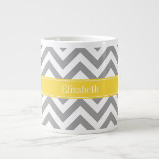 Dk Gray White LG Chevron Pineapple Name Monogram Large Coffee Mug