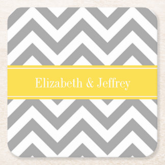 Dk Gray White LG Chevron Pineapple Name Monogram Square Paper Coaster