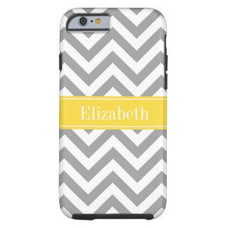 Dk Gray White LG Chevron Pineapple Name Monogram Tough iPhone 6 Case