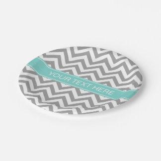 Dk Gray White LG Chevron Turquoise Name Monogram Paper Plate