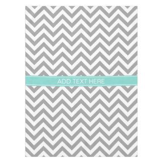 Dk Gray White LG Chevron Turquoise Name Monogram Tablecloth