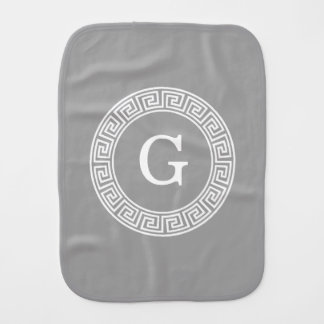 Dk Gray Wht Greek Key Rnd Frame Initial Monogram Burp Cloth