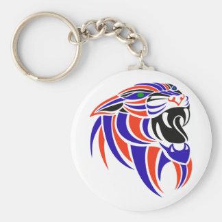Dk Purple and Orange Tiger Head Basic Round Button Keychain