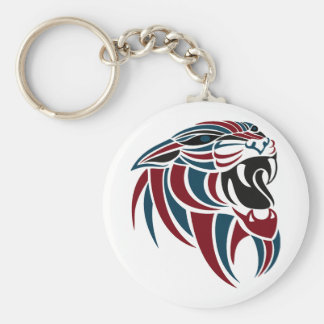 Dk Red and Dk Blue Tiger Head Basic Round Button Key Ring