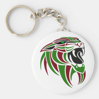 Dk Red and Green Tiger Head Basic Round Button Key Ring