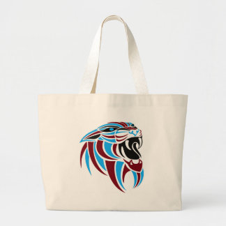 Dk Red and Lt Blue Tiger Head Jumbo Tote Bag