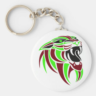 Dk Red and Lt Green Tiger Head Basic Round Button Keychain