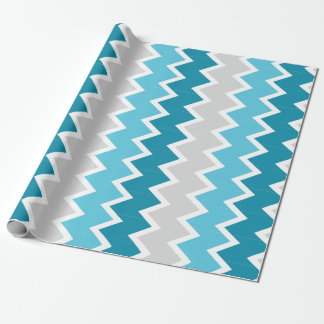 Dk Teal, Lt Teal and grey chevron Wrapping paper