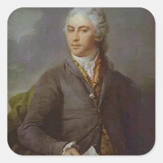 Dmitry Levitzky- Portrait of Y. I. Bilibin Square Stickers