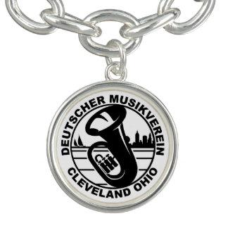 DMV Round Charm Bracelet Black Logo, Silver Plated