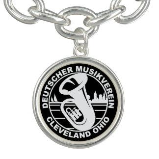 DMV Round Charm Bracelet White Logo, Silver Plated