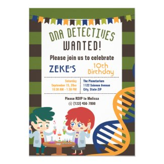 DNA Detectives Science Lab Birthday Party Invitation