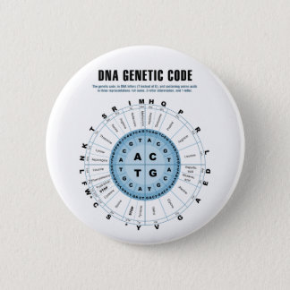 DNA Genetic Code Chart 6 Cm Round Badge