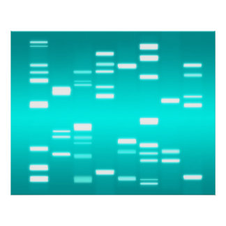 DNA Genetic Code Cyan Blue Poster