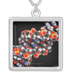 DNA molecule. Molecular model of DNA Square Pendant Necklace
