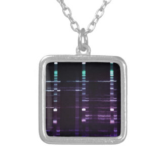 DNA Sequencing Gel 2 Silver Plated Necklace