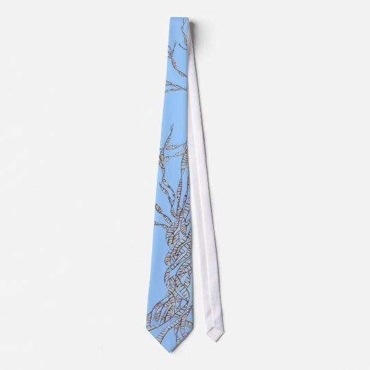 DNA TREE or Tree of Life Blue Tie