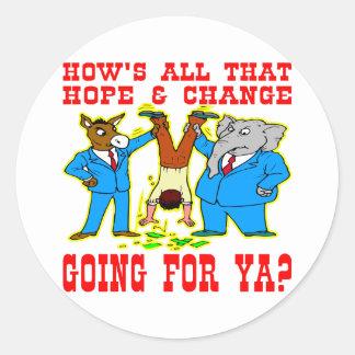 DNC & GOP Both Are Crooks Round Stickers
