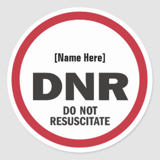 DNR Do Not Resuscitate Sticker