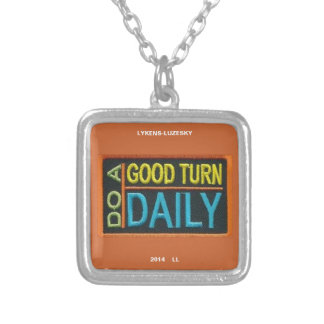 Do a good turn daily square pendant necklace