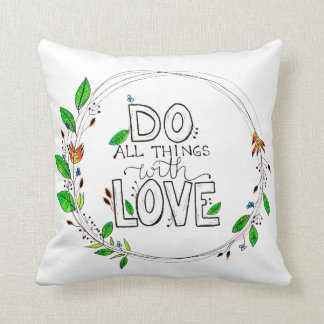 Do All Things with Love - Botanical Wreath Cushion