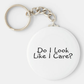 Do I Look Like I Care Basic Round Button Key Ring