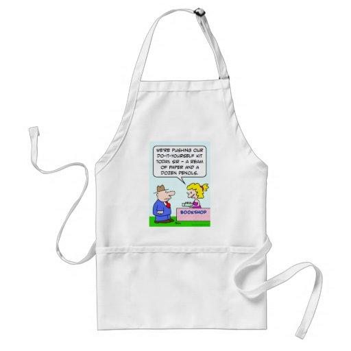 do it yourself bookshop paper pencils apron