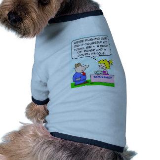do it yourself bookshop paper pencils dog t-shirt