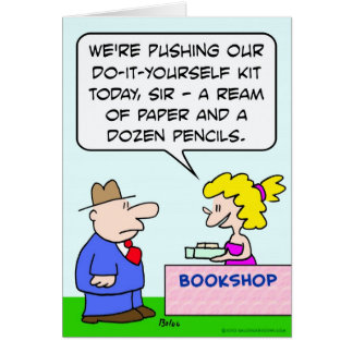 do it yourself bookshop paper pencils greeting card