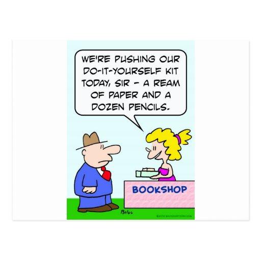 do it yourself bookshop paper pencils postcards