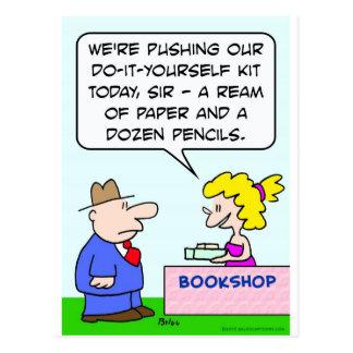 do it yourself bookshop paper pencils postcard