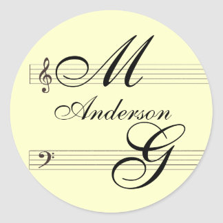 Do it yourself musicians in love template classic round sticker