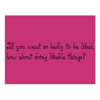 do likable things postcard