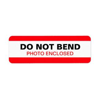 Do Not Bend Warning Label Red Return Address Label