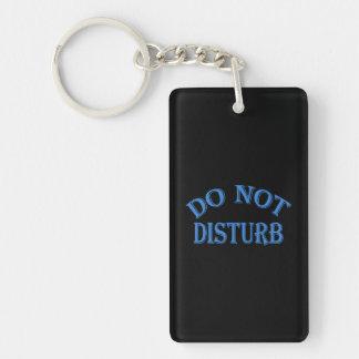 Do Not Disturb - Black Background Double-Sided Rectangular Acrylic Key Ring