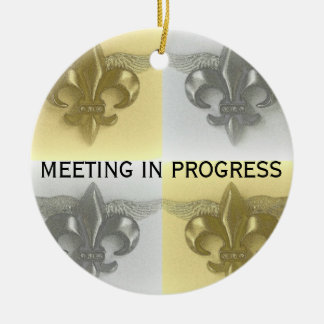 DO NOT DISTURB - FLEUR DE LIS, SOFT GOLD AND SILVE ROUND CERAMIC DECORATION