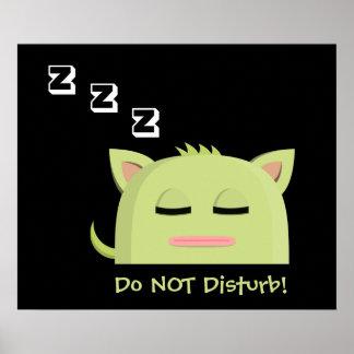 Do not disturb! Sleeping Kitty Poster