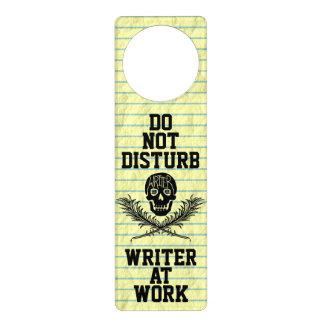 Do Not Disturb Writer at Work Skull Door Knob Hanger