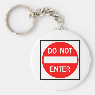 Do Not Enter Highway Sign Basic Round Button Key Ring